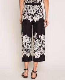 Pantalon cropped en popeline florale Imprimé Fleur Graphique Noir Femme 201TT2316-04