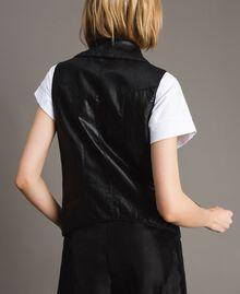 Faux leather zipped waistcoat Black Woman 191MT2280-03