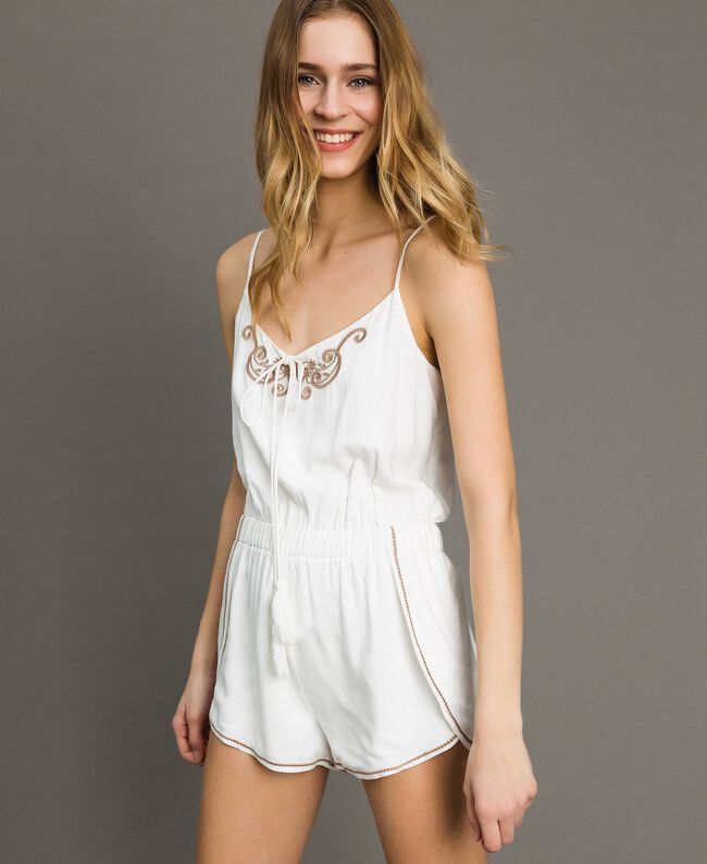Short jumpsuit with shoulder straps and embroideries Ivory Woman 191LM2RDD-01