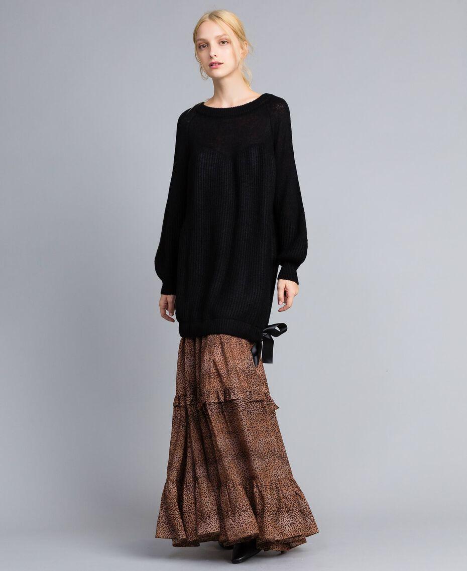 Mini-robe en mohair mélangé Noir Femme SA83BB-02
