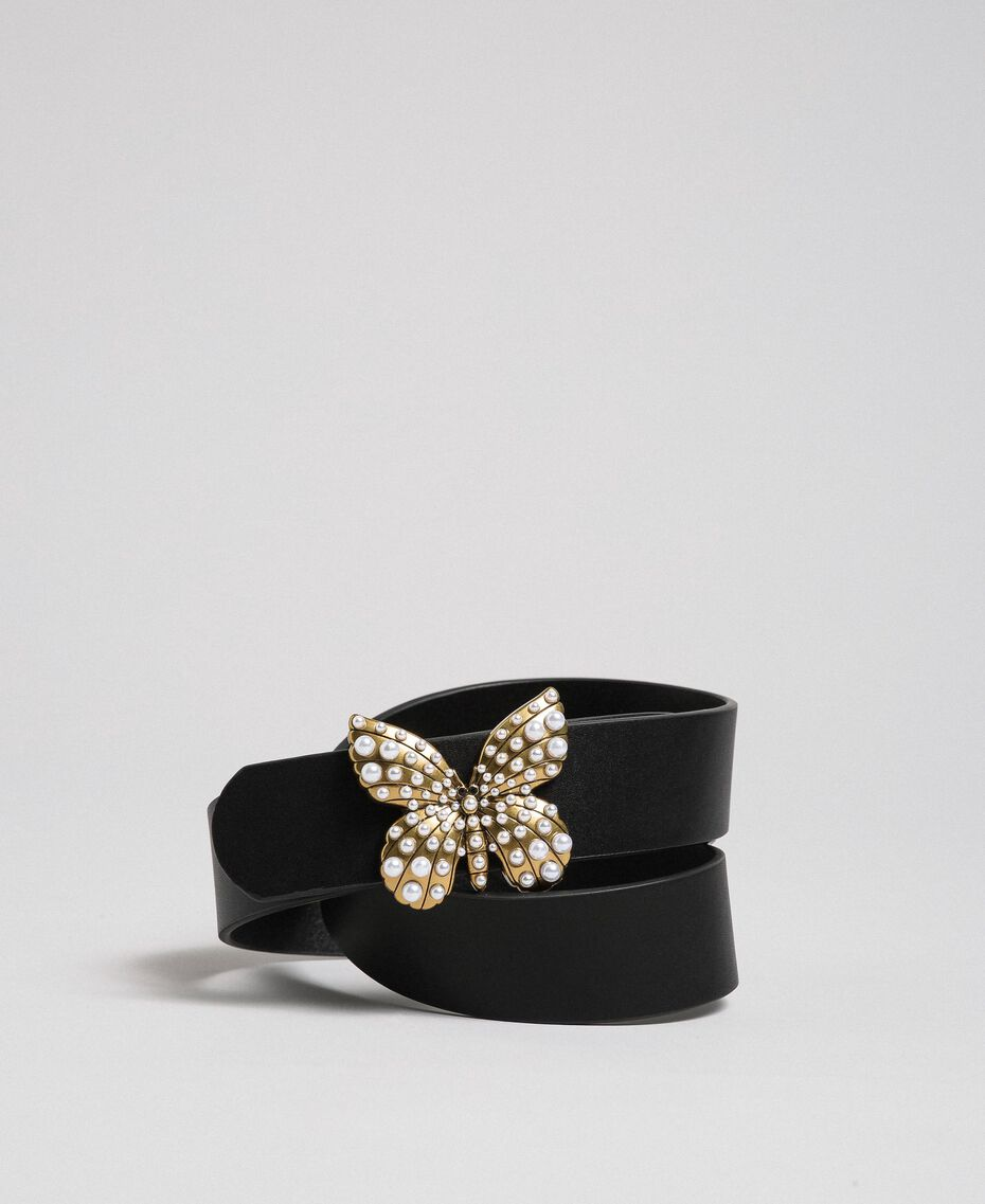 Leather belt with butterfly, regular Black Woman 192TA4307-01
