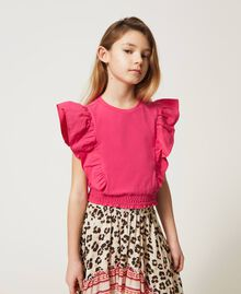 """Top with gathered sleeves """"Fuchsia Purple"""" Pink Child 211GJ2238-01"""