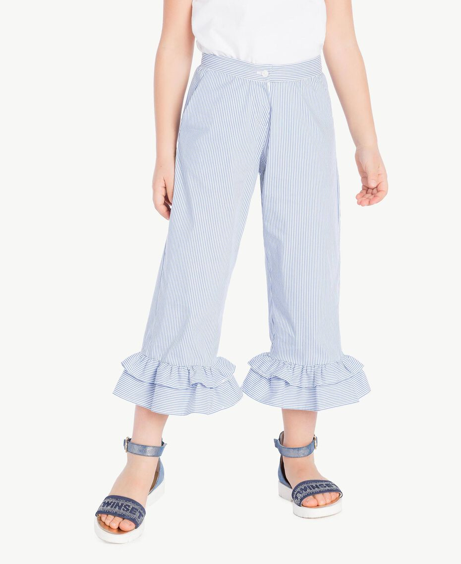Poplin trousers Light Blue Large Stick Jacquard Child GS82LT-02