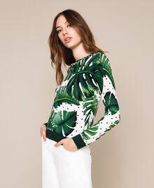 Maglia stampata con ricamo Stampa Tropical Pois Verde Donna 201TP3266-04