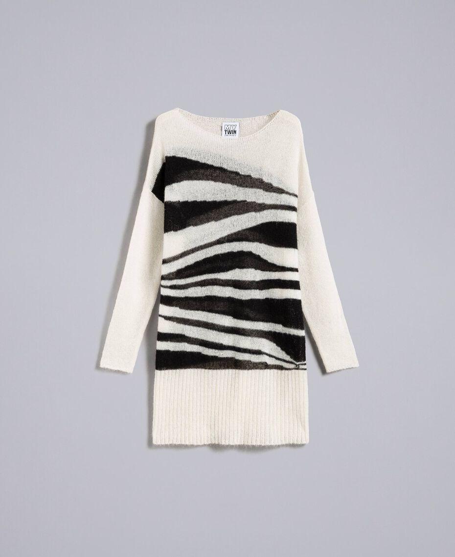 Maxi pull en mohair avec incrustation Bicolore Blanc Nacre / Noir Femme JA831A-0S