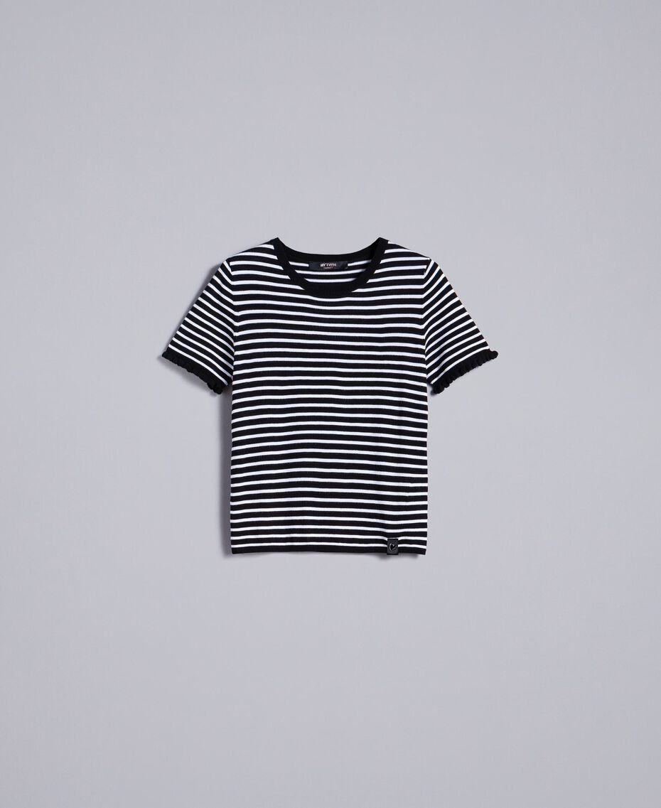 Two-tone striped jumper with ruches Black / Mother-of-pearl White Stripe Woman JA83BN-0S
