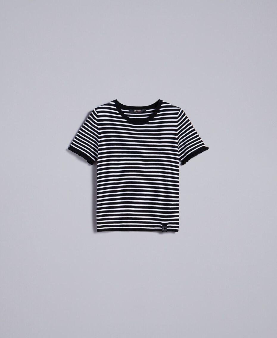 Jersey con rayas bicolores y volantes Raya Negro / Blanco Nácar Mujer JA83BN-0S