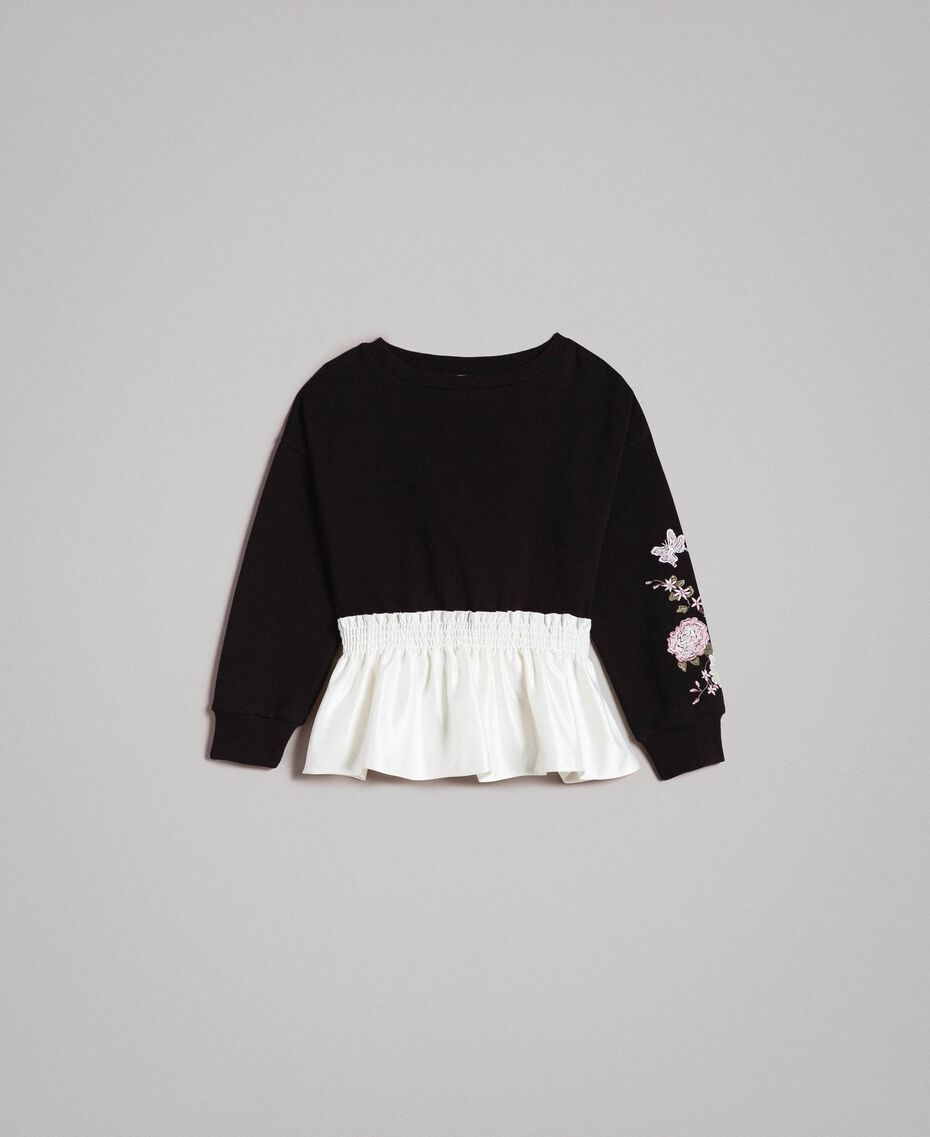 Cotton sweatshirt with satin flounce Bicolour Black / Off White Child 191GJ2401-01