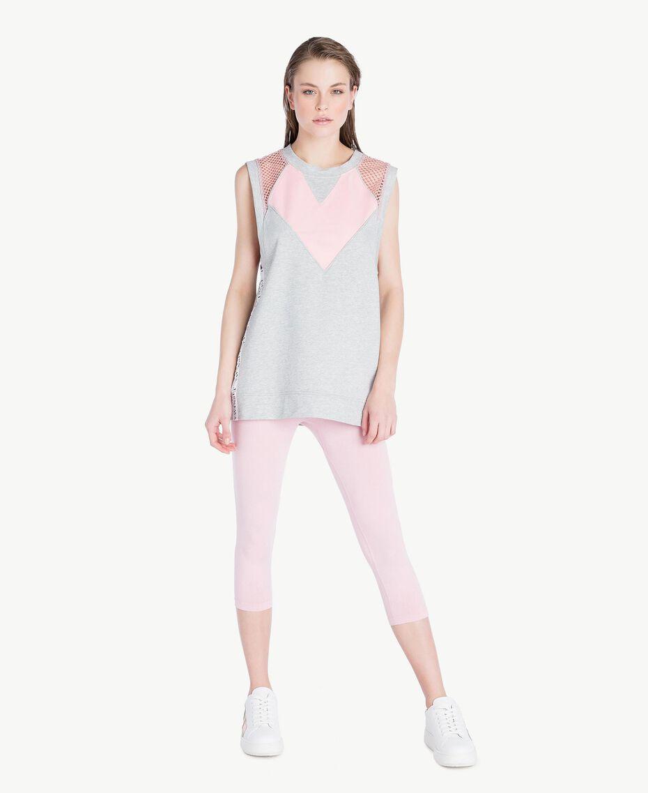 Trägerhemd mit Herz Zweifarbig Meliertes Mittelgrau / Pinkie Sugar Frau LS87CC-02