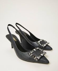 """Leather court shoes with jewel buckle """"Nude"""" Beige Woman 202TCP018-01"""