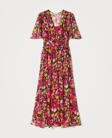 Floral creponne long dress Fuchsia Floral Print Woman 202TP2531-0S
