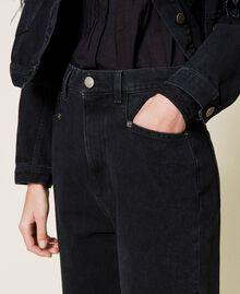 Carrot fit high waist jeans Black Denim Woman 212TP232C-04