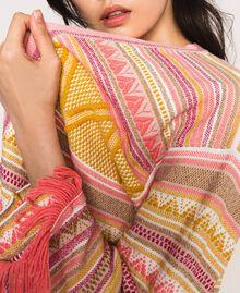 Maxi cardigan à franges Jacquard Multicolore Rose Femme 201TT3161-04
