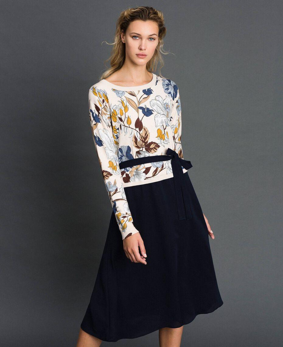 Crêpe de Chine and knit dress with belt Cream Autumn Flower Print Woman 192ST3225-01