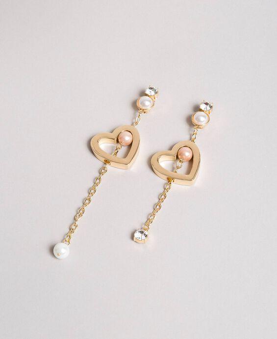 Ohrringe mit Herz, Perlen und Steinen
