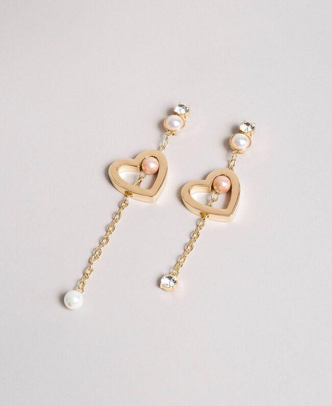 Ohrringe mit Herz, Perlen und Steinen Gold Gelb Frau 191TQP011-01