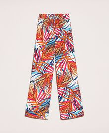 "Crêpe de Chine palazzo trousers ""Ice"" White Ferns Print Woman 201MT2374-0S"