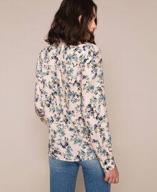 "Floral crêpe de Chine shirt ""Quartz"" Pink Flowered Print Woman 201MP2375-04"