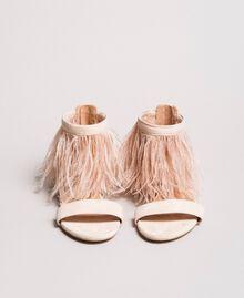Sandales plates à plumes Rose Bouton Femme 191TCP212-04