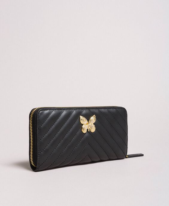 Matelassé leather wallet
