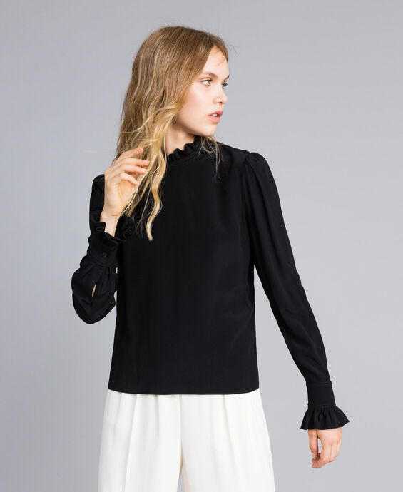 Silk blend blouse with ruches