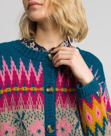 Pull-cardigan jacquard multicolore Jacquard Multicolore Bleu « Lake » Femme 192MP3181-04