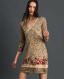 Knit dress with animal and floral print Leo / Flower Mix Print Woman 192TP3360-01