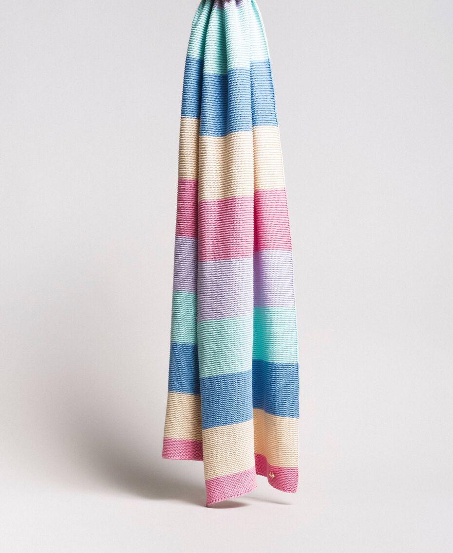 Écharpe jacquard rayée en coton Multicolore Couleur Pastel Femme 191MA4301-01