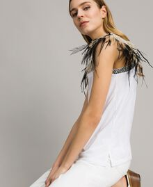 Tank top with removable fadeout feathers White Woman 191TT2205-04