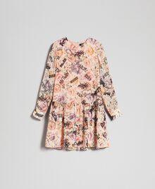 Kleid mit Blumen-Graffiti-Print Blumen-Graffiti-Print Vanille Frau 192MP222K-0S