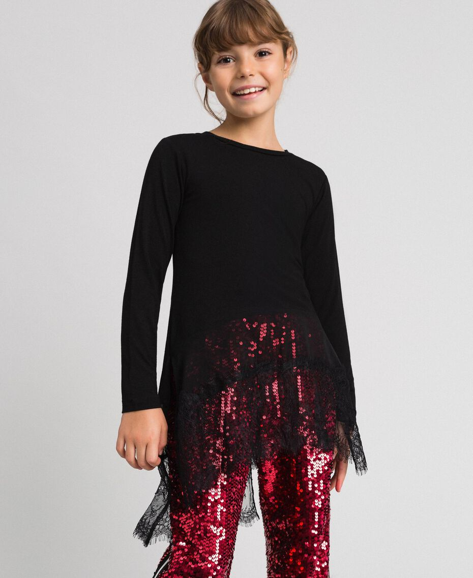 Maxi T-shirt with georgette and lace details Black Child 192GJ2468-01