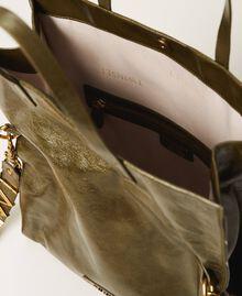 Borsa shopper Twinset Bag in pelle ripiegabile Dark Olive Green Donna 202TB7099-05