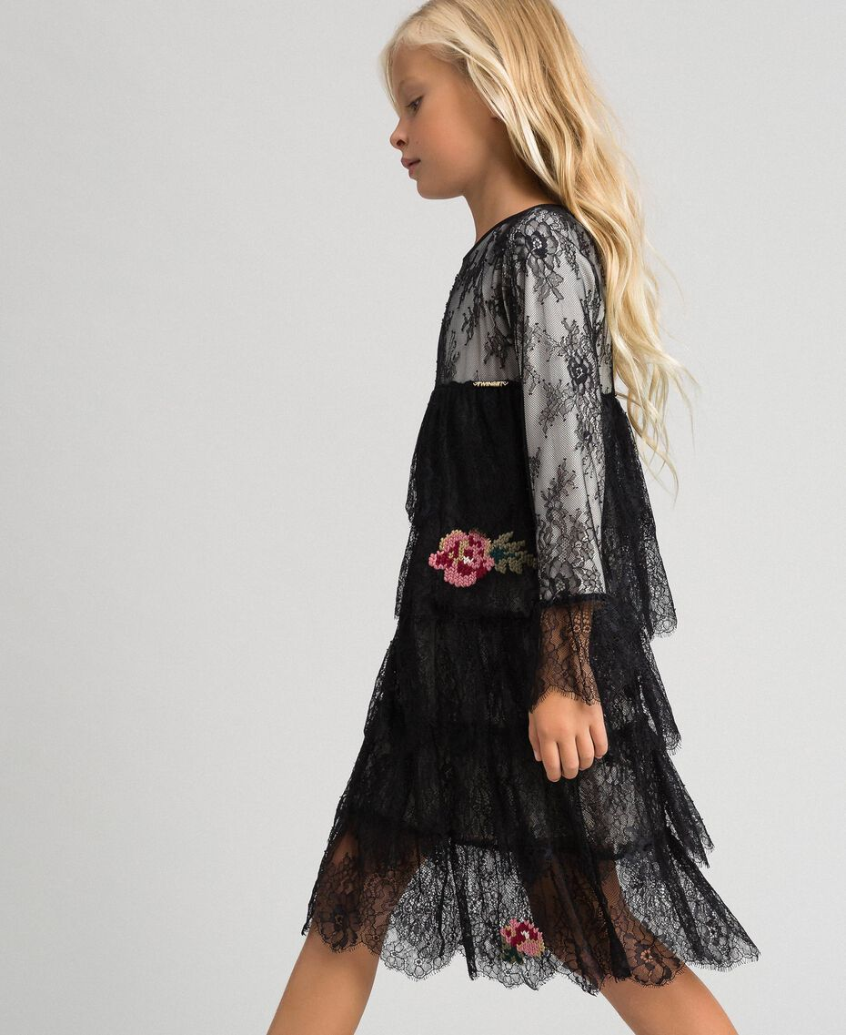 Chantilly lace dress with embroidered roses Two-tone Black / Pale Cream Child 192GJ2670-02