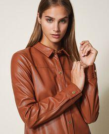 Faux leather shirt dress Black Woman 202LI2GEE-05