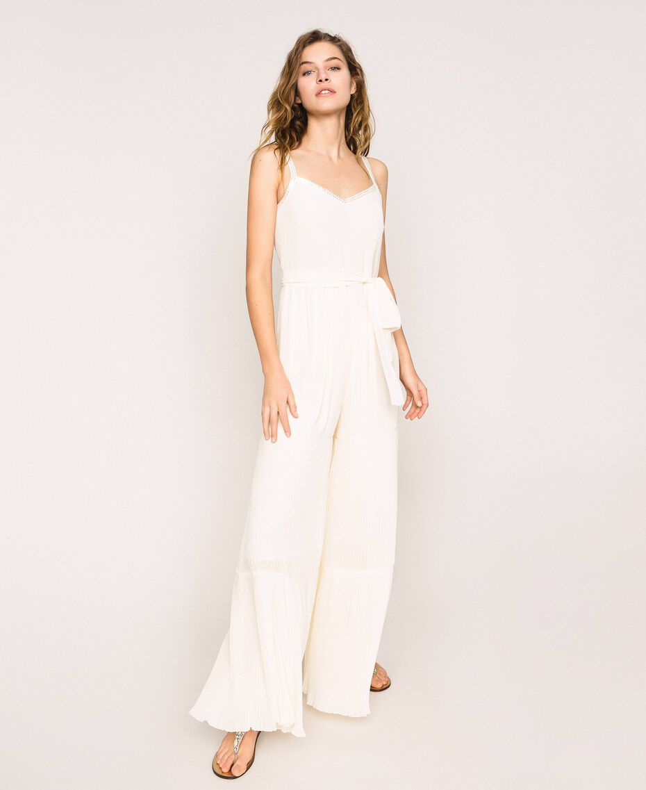 Pleated georgette jumpsuit with embroidery Antique White Woman 201TT2091-01