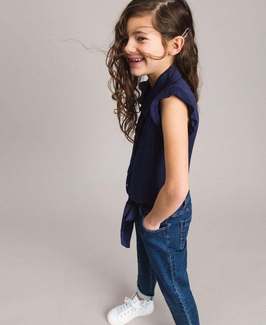 Satin-Trainingsanzug und Pullover im Denim-Look Indigo Kind 191GJ2382-02
