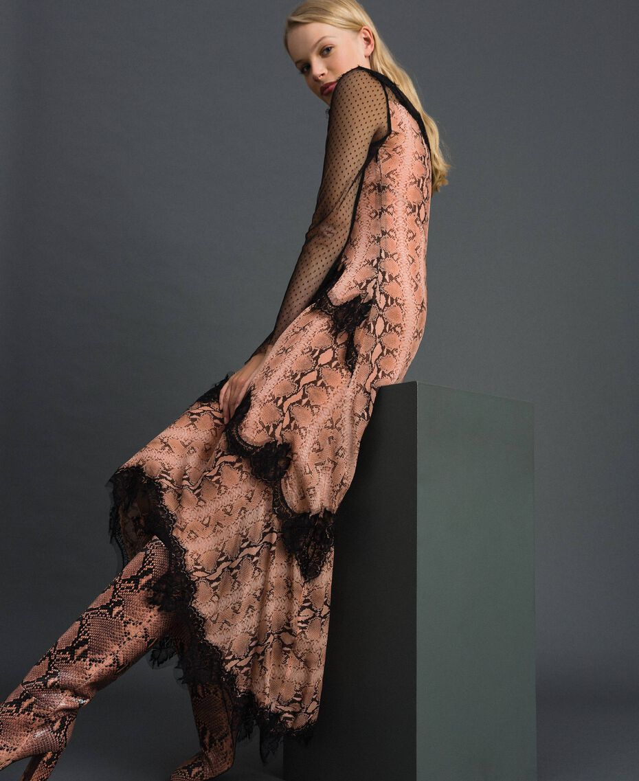 Animal print georgette long dress Canyon Pink Python Print Woman 192TT2271-01