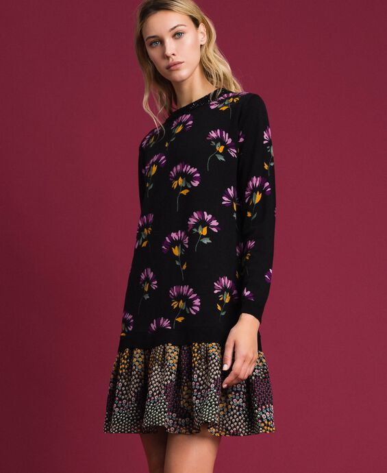 Printed wool dress with embroidery