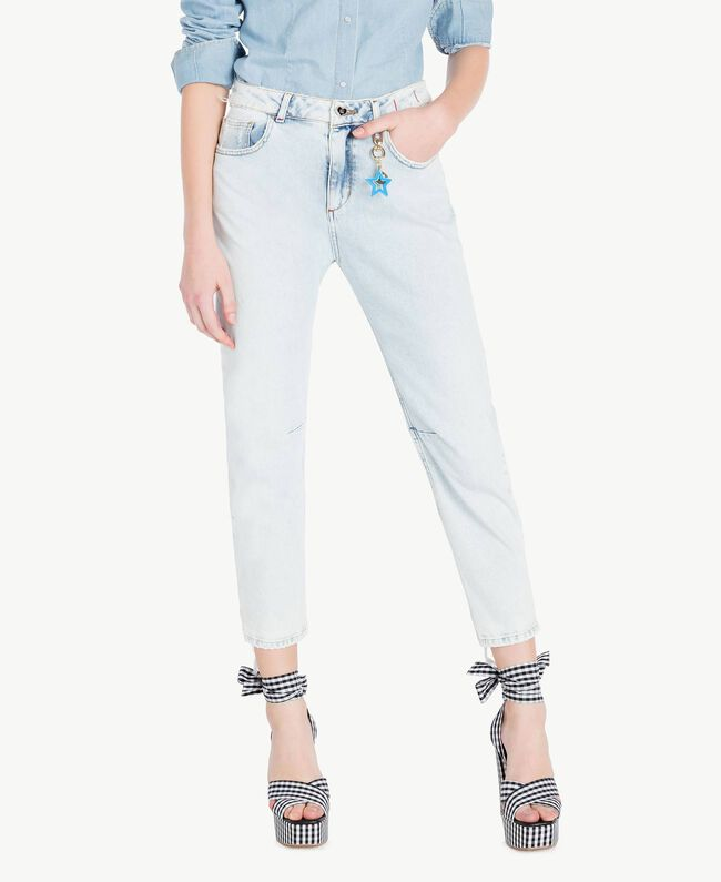 Girlfriend-Jeans Denimblau Frau JS82WR-01