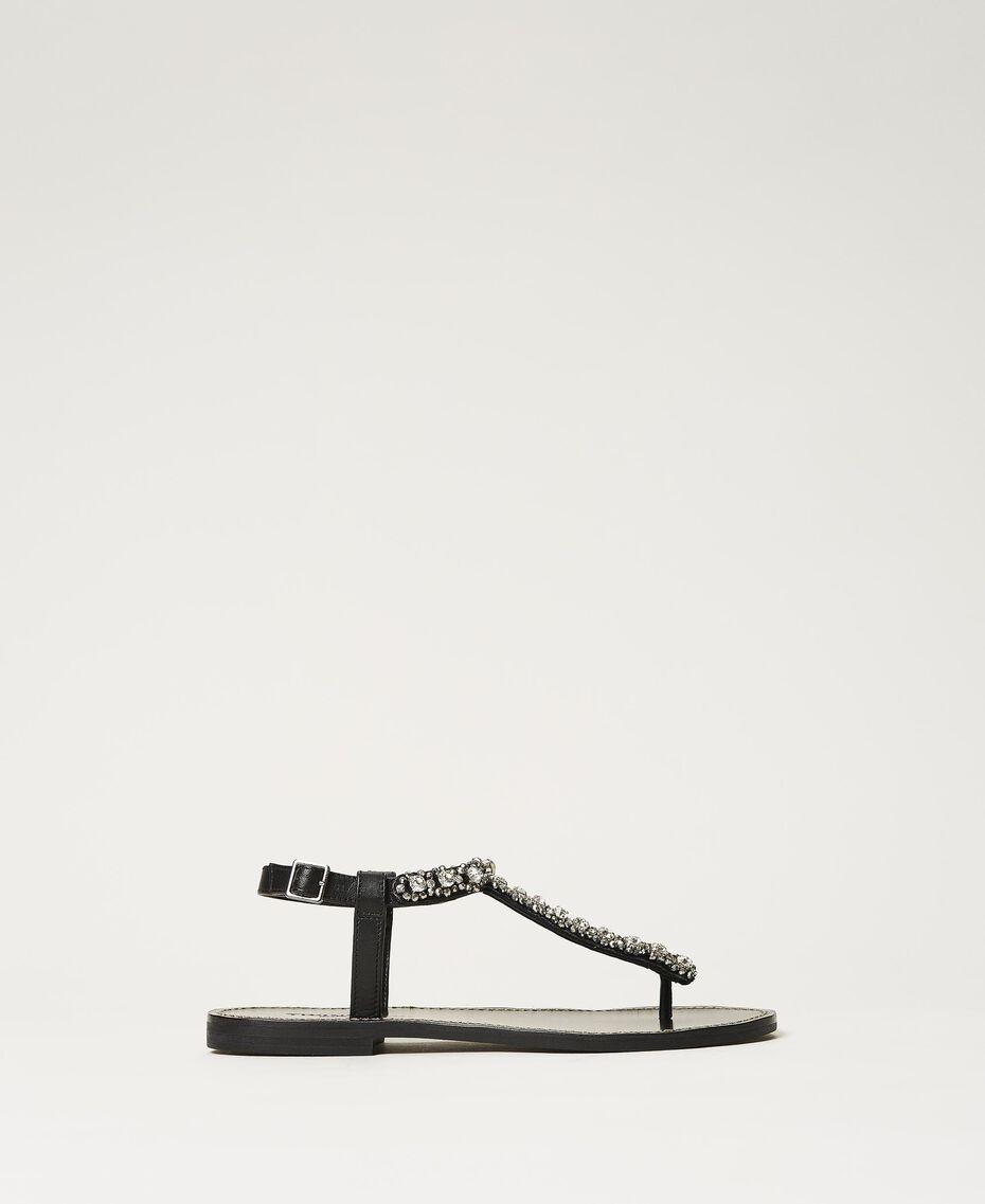 Sandales plates avec chatons et strass Noir Femme 211TCT044-03