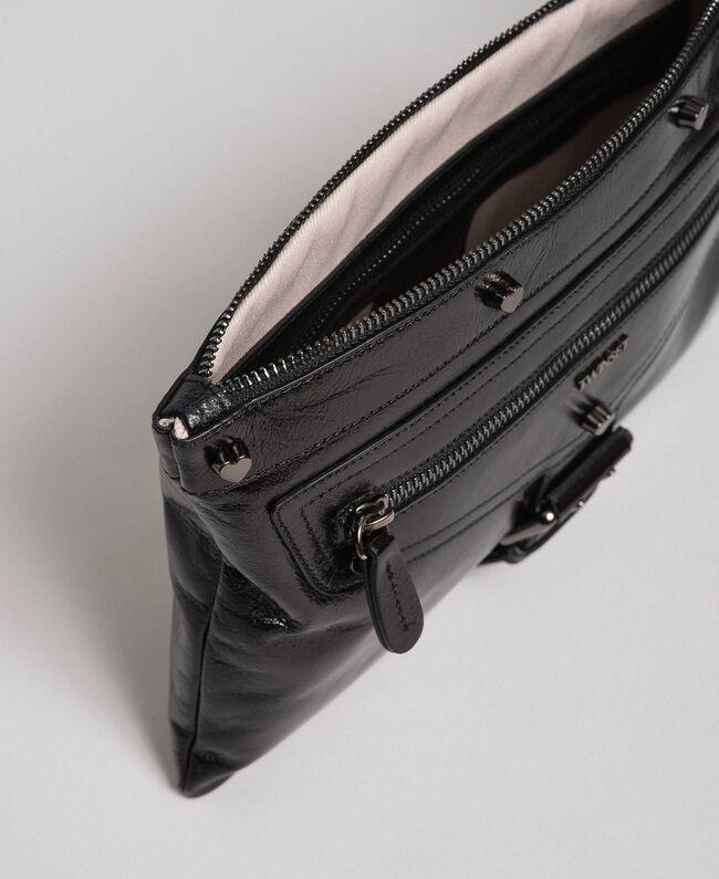 Borsa pochette in pelle effetto craclé Nero Donna 192TA723B-04