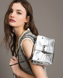 Laminated leather Rebel shoulder bag Silver Woman 191TO8640-0S