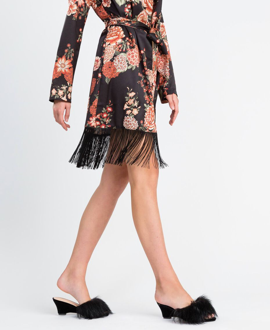 Slippers en velours avec semelle compensée Noir Femme LA8AJJ-0S