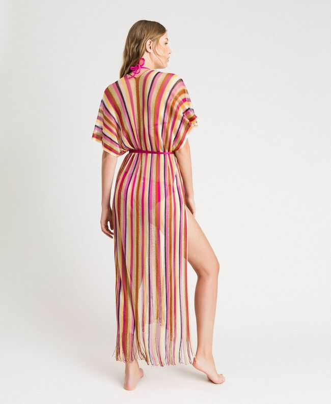 "Lurex striped knit poncho ""Psychedelic Pink"" Fuchsia Multicolour Striping Woman 191LB4AMM-03"