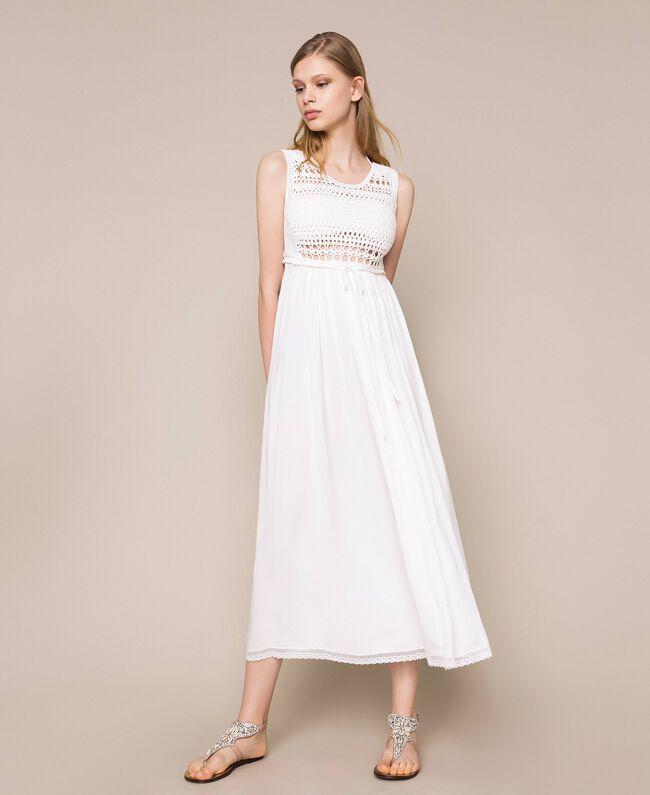 Long dress with crochet Black Woman 201LB36AA-01