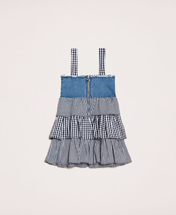 Denim dress with gingham flounces
