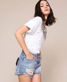 Shorts with rhinestones Denim Blue Woman 201MP2272-01