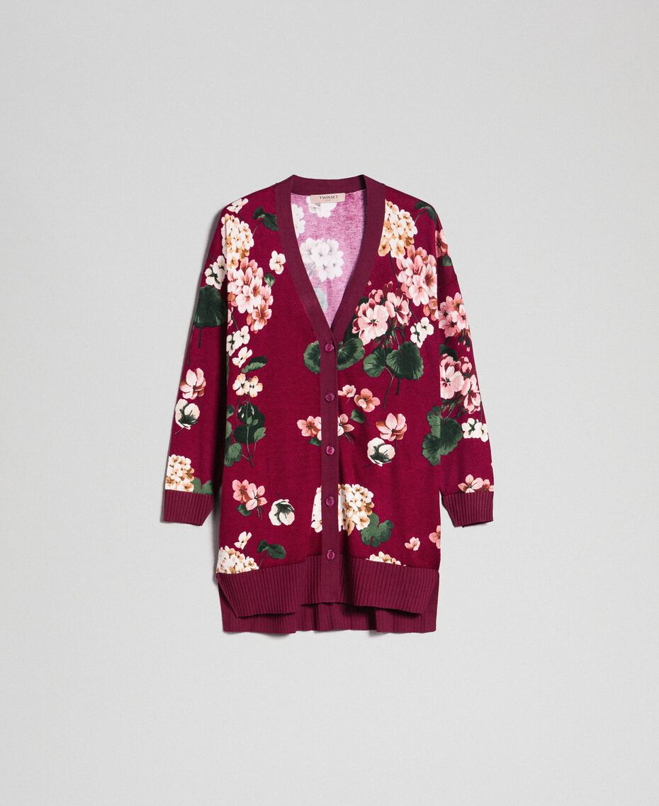 Maxi cardigan imprimé Imprimé Rouge Betterave Géranium Femme 192TP3363-0S