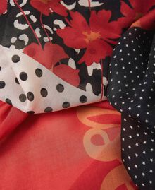 Keffieh avec imprimés et franges Imprimé Mélangé Rose «Pêche Blossom» / Blanc Crème Femme 202TA441A-02