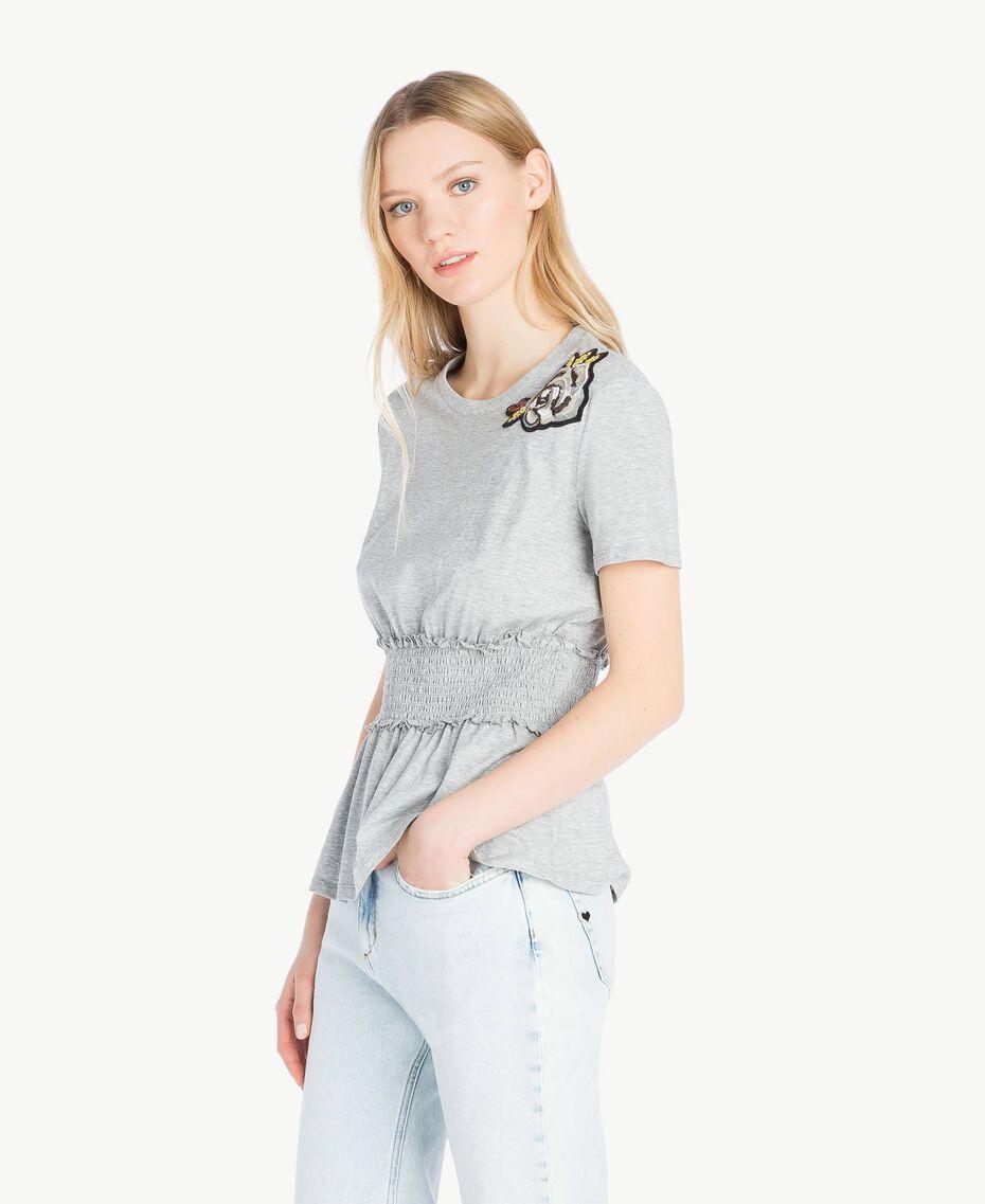 T-Shirt mit Pailletten Grau Melange Frau JS82RB-02